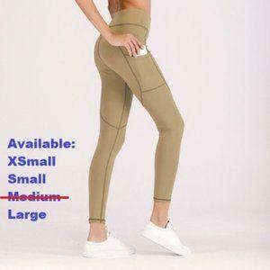 High Waist Tan Leggings with pockets